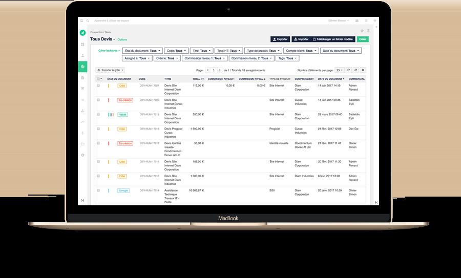 Vue de gestion des contacts dans Numefy