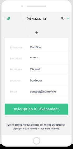Interface numefy gestion evenementielle